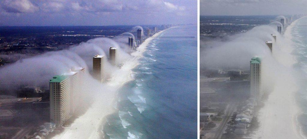 Nube con forma de ola tsunami