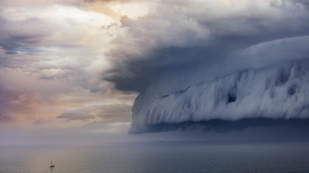 Nube tsunami en el Lago Superior (Michigan)