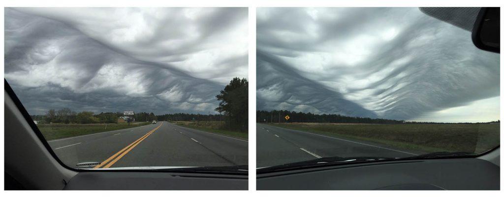 Nubes con forma de olas submarinas